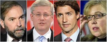 Image result for mulcair may trudeau harper