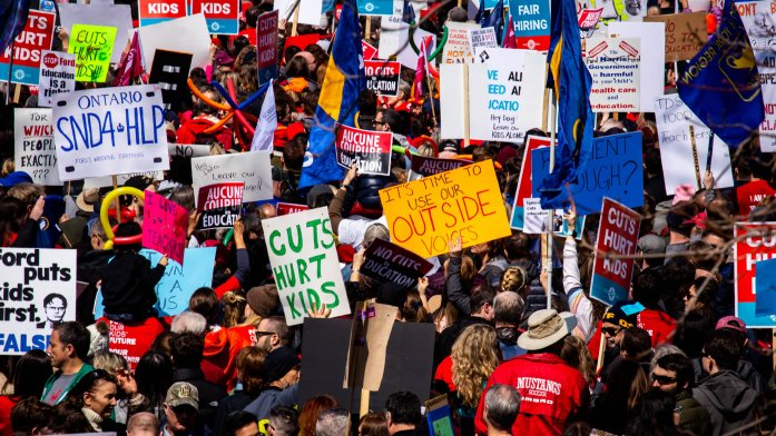 Thousands protest Ontario cuts in 2019, by Alex Gold - Shutterstock